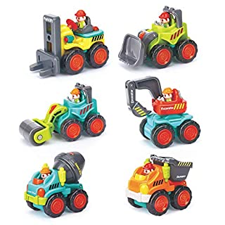 6 Pieces Construction Vehicles Toy Trucks Set - Bulldozer, Cement Mixer, Dumper, Forklift, Excavator and Road Roller for Your Little Contractor - Push and Go Sliding Toys for Toddlers 18m+