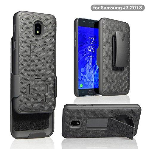 GW USA Belt Clip Holster For Samsung Galaxy J7 Star,J7v 2nd Gen,J7 2018,J7 Refine Case,Shock Proof Protection Kickstand Phone Case - Black