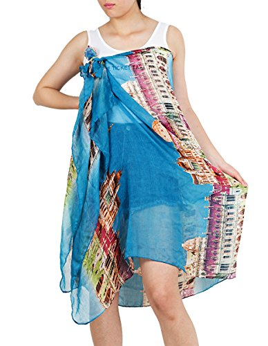 Nishaer Women Blue Cotton City Of White House Digital Printed Sarongs For The Beach