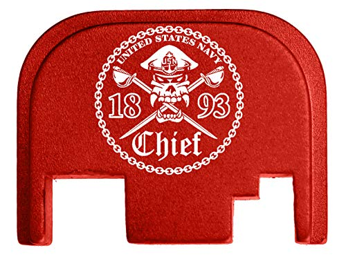 for Glock Back Plate Gen 1-4 17 19 21 22 23 27 30 34 36 41 Red NDZ - Chief Petty Officer 1893 Cutlasses ()