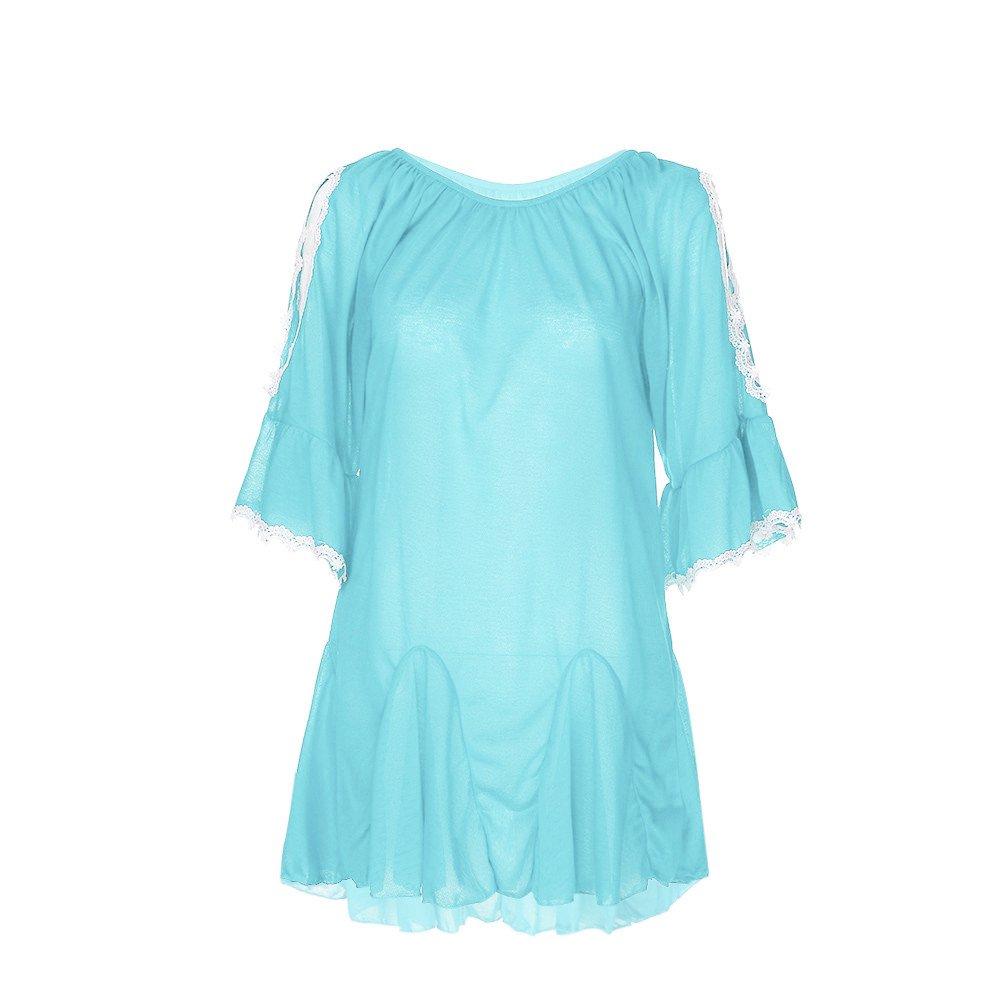 WEUIE Women Blouse Hot Sale! Women Fashion Plus Size Lace Summer Leaking Shoulder Cotton Tops Shirt Blouse (5XL,Sky Blue)