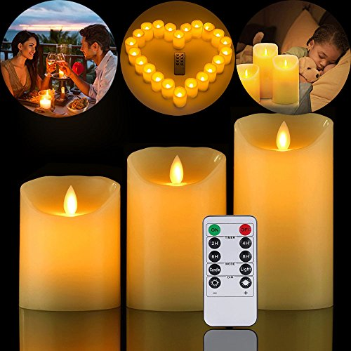 12' Dinner Candles - Real Wax Flickering Electric Candles Battery Operated Candles with Remote Control,Set of 3, Height 8'' 12'' 16''x D5''