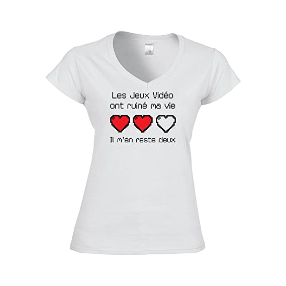 48056e8e5298f Mygoodprice T-shirt Femme col V les jeux vidéo ont ruiné ma vie  Amazon