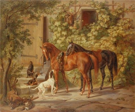 [Perfect Effect Canvas ,the Reproductions Art Decorative Canvas Prints Of Oil Painting 'Horses At The Porch 1843, By Adam, Albrecht', 30x36 Inch / 76x92 Cm Is Best For Study Decoration And Home Decoration And] (Hat Robin Hood Moss)