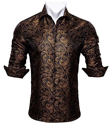 Barry.Wang Men Shirts,Paisley Flower Woven Silk Dress Shirt Long Sleeve Formal/Leisure