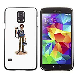 Colorful Printed Hard Protective Back Case Cover Shell Skin for SAMSUNG Galaxy S5 V / i9600 / SM-G900F / SM-G900M / SM-G900A / SM-G900T / SM-G900W8 ( Journalist Caricature Tourist Photography Art )