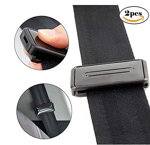 Car Seat Belt Adjuster, Seatbelt Clips | Smart Adjust Seat Belts to Relax Shoulder Neck Give You a Comfortable and Safe Experience | 2PCS Black