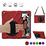 New iPad 2017/2018 9.7 inch Case,BRAECN Heavy Duty Kickstand Shockproof Protective Case Cover for Apple New iPad 9.7 inch (2017/2018 Version) with a Hand Strap/a Shoulder Strap Red/Black