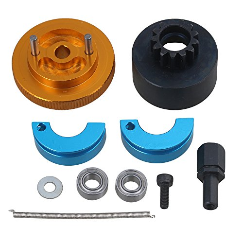 Mxfans Yellow Aluminum Alloy Steel RC N10238 13T Clutch Bell Shoes Springs Bearings Flywheel Assembly Kit Set for RC1:10 Car - Alloy Clutch