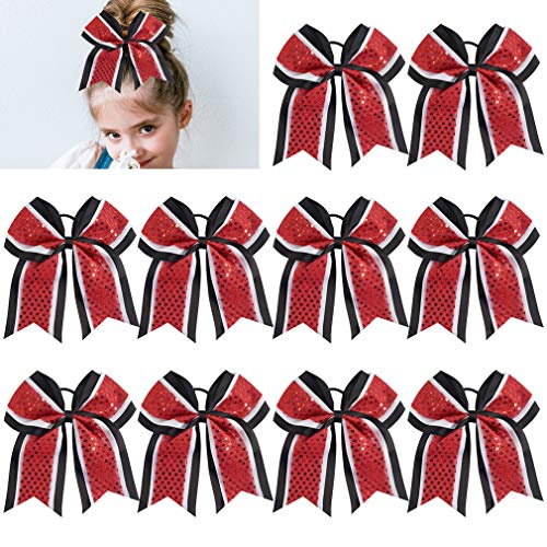 """Large Glitter Cheer Bows Girls Red Black Ponytail Holders 7"""" Hair Bows Bulk Elastic Hair Ties Accessories for Cheerleaders Teens Women Teams Competition Sports Pack of 10 from KOROBeauty"""