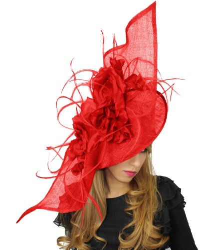 36 Inch Elisaveta Ascot Fascinator Hat With Headband - Red by Hats By Cressida