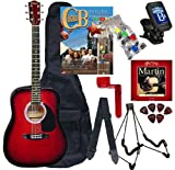 Chord Buddy Acoustic Guitar Beginners Package with Full Size Johnson JG-610 Bundle - Redburst