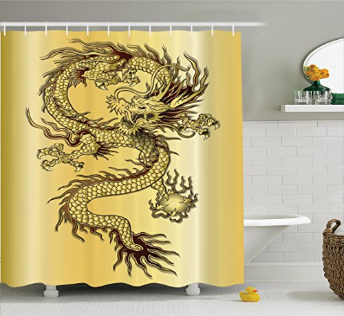 Ambesonne Dragon Decor Shower Curtain Set