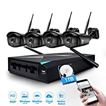 Security System, JOOAN TC-734NVR-4N-AW-1T 1.3MP 4 x 960P IP Cameras 4CH NVR Wireless Security CCTV Surveillance Systems Plug and Play Indoor/Outdoor - With 1TB Hard Drive