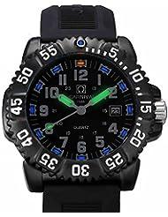 Gosasa Mens Tritium luminous Watch Rotatable Bezel Navy SEAL Stainless Steel Case Mens Military Quartz Watche