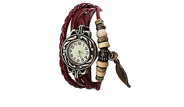 Lightinthebox @Charm Womens Leather Watch Bohemian Leaf Pendent Weave Wristwatch pulsera de cuarzo: Amazon.es: Relojes