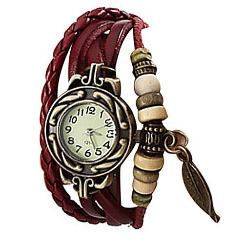 Lightinthebox @Charm Womens Leather Watch Bohemian Leaf Pendent Weave Wristwatch pulsera de cuarzo