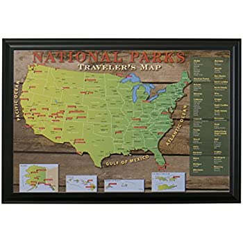 Amazoncom National Park US Push Pin Travel Map with Black Frame