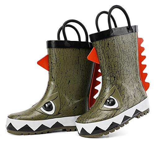 hiitave Kids Toddler Waterproof Rubber Rain Boot for Boys Girls with Easy Pull On Handles Olive/Dinosaur 7 M US Toddler