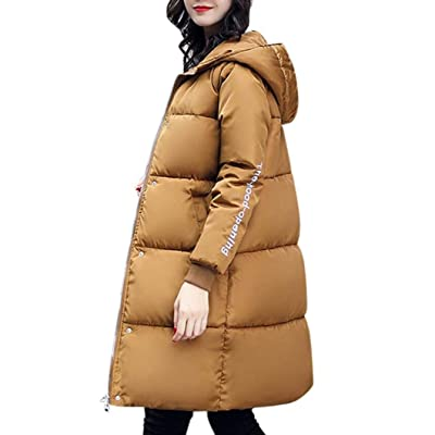Abrigo Acolchado Mujer Largos Invierno Ropa Hooded Plumas Elegantes Moda Espesar Caliente Manga Larga Outdoor Casuales Pluma Parka Invierno: Ropa y accesorios