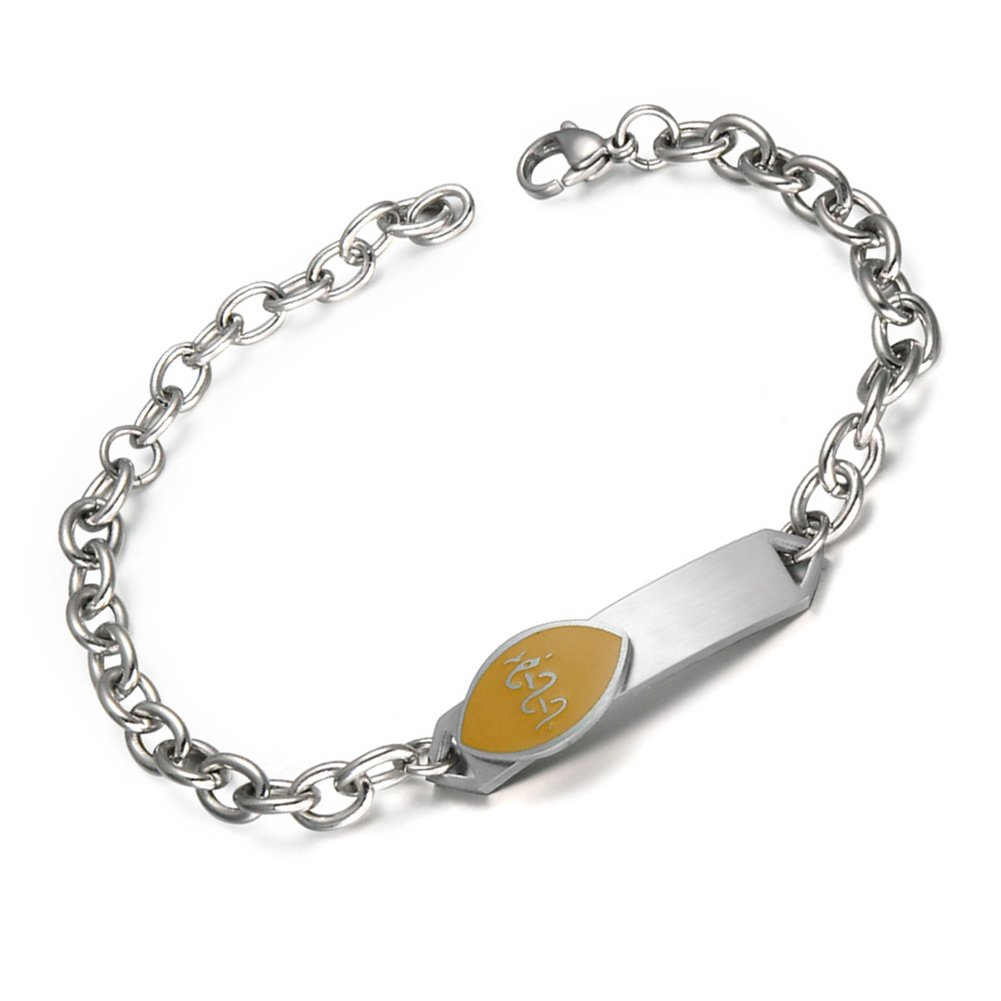 BBX JEWELRY Womens Stainless Steel Medical Alert ID Bracelet for Girls Free Engraving