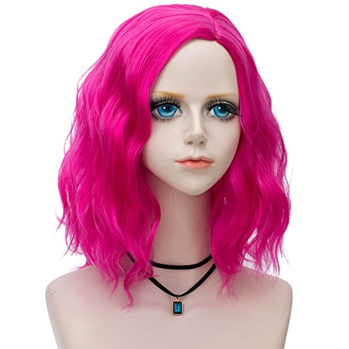 Probeauty Pop Collection Beach Wave Short Lolita Curly Wigs for Women + Wig Cap (Rose Pink F8)]()