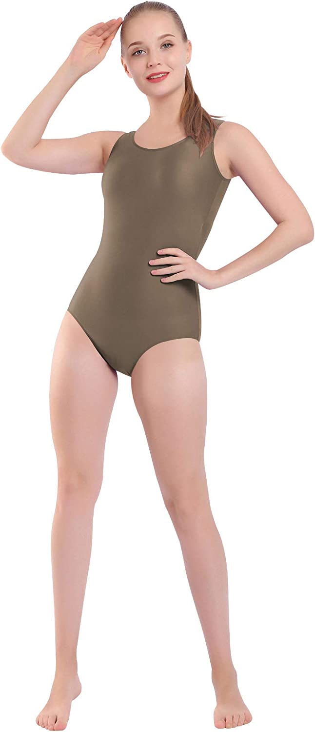 Mvefward Womens Basic Solid Tank Leotard with Scoop Neck Top Bodysuit for Adult