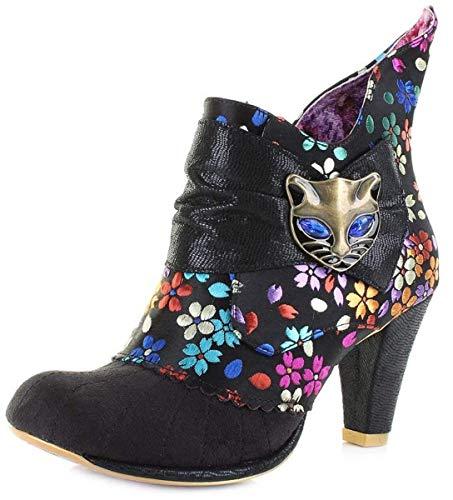 #Irregular Choice Miaow Black Print Womens Ankle ()
