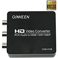 COWEEN AV2HDMI 1080P RCA to HDMI Converter Mini Coposite Converter Upscaler 3RCA AV Adapter for TV Xbox PS PC