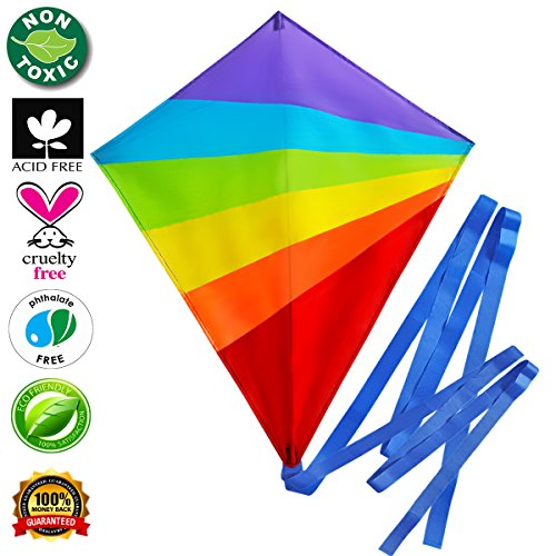 Kite Large Flying Kites Kit for Kids with String Handle (NEW Edition) - Fly Big Easy Diamond Rainbow High Flyer - FREE Extra Gift (Ebook) - Best Gift: Beach Summer Runner Toy for Children Travel Size