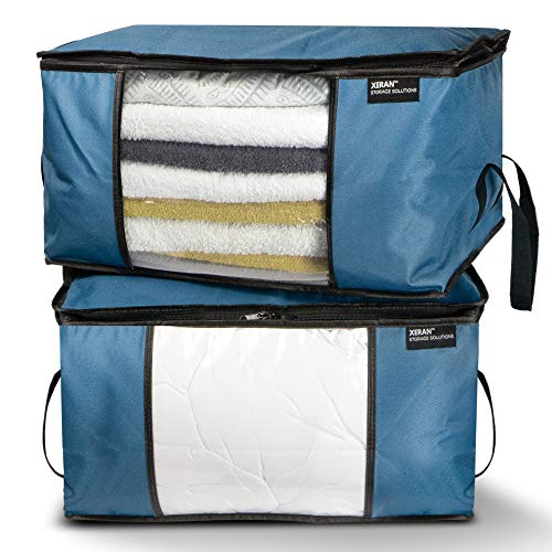 (XERAN Foldable Storage Bags | Heavy-Duty Large Organizer Bags for Clothes, Blankets, Household Garments, Shoes | for Easy Storage Under Bed or as Closet Organizer | Set of 2 (Blue))