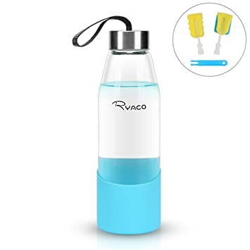 Ryaco Botella de Agua Cristal 500ml, Botella de Agua Reutilizable 16 oz, sin BPA