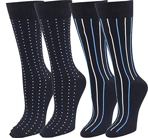 Men's Super Soft Dress Socks Comfortable Classic Crew Sock 2PK Dark Navy Stripes & Dots, Size 10-13