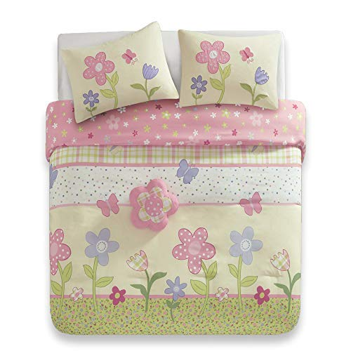 Comfort Spaces - Happy Flower Comforter Set - 4 Piece - Pink - Adorable Printed Plaid with Floral and Butterfly - Twin/Twin XL Size, Includes 1 Comforter, 1 Sham, 1 Dec Pillow, and Valance