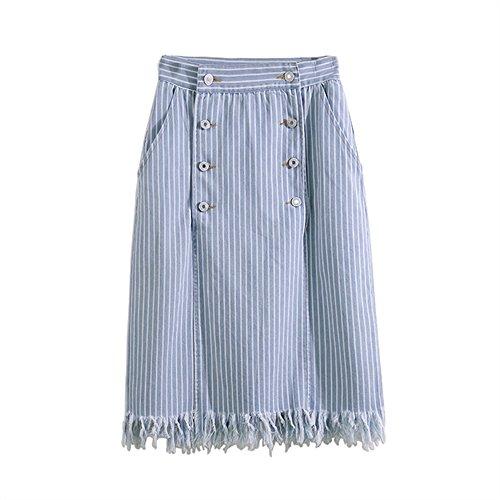 Abenily Femme Chemise Casual Jupe  Franges d't  Rayures Sky-blue