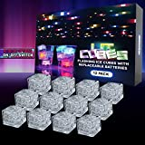 Lit Cubes (12 Pack) Premium LED Light Up Ice Cubes for Drinks - Replaceable Batteries, 8 Color Changing Lights & On/Off Switch - Glow in the Dark Party Supplies for Gifts, Etc.