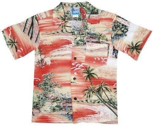 RJC Boys Paradise Island Surf Rayon Shirt Coral 4 by RJC