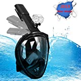 Snorkel Mask Full Face, Panoramic 180°View Design, Anti-Fogging Anti-Leak with Adjustable Head Straps