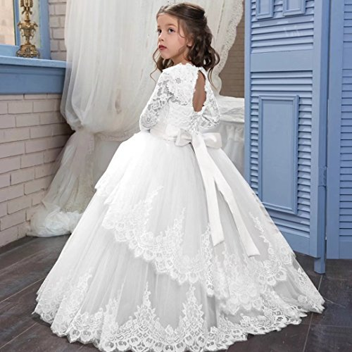 Amazon.com: Angel Dress Shop Flower Girl Dress Applique Long Sleeves First Communion Pageant Gown Wedding Dress: Clothing