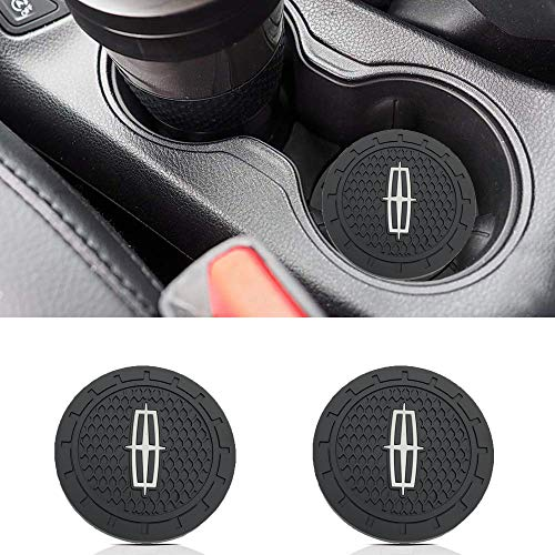Auto sport 2.75 Inch Diameter Oval Tough Car Logo Vehicle Travel Auto Cup Holder Insert Coaster Can 2 Pcs Pack for Lincoln Accessory
