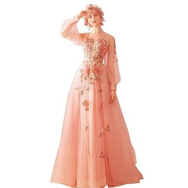 3bd19514f5642f Amazon | ピンク プリンセス ロングドレス 結婚式 ドレス ロング丈 ...