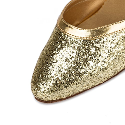 Miyoopark Womens Close Toe Sparking Latino Tango Salsa Scarpe Da Ballo Hot Wedding Pumps Oro-tacco 8cm