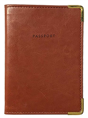 Eccolo Synthetic Leather Travel Passport Holder Cover Wallet Document Organizer (Brown Gold Corners)