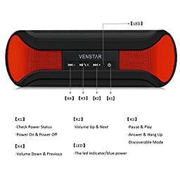 Wireless Speakers, I-Venstar Portable Bluetooth Speakers (High Definition Audio, Built-in Microphone, NFC, 2x3W Acoustic Drivers, 12 Hours Playtime)