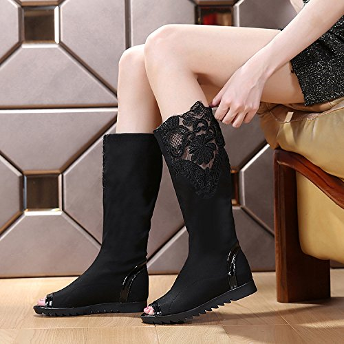 KHSKX Korean Boots Single The Show Black Elastic Match All Flat Tall In Boots Boots eight Boots Cloth Increase Boots Thirty Fall Women wwqaU8r
