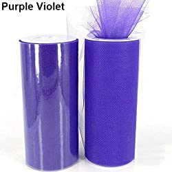 Heart Speaker 6inch 25yd Tulle Roll Spool Wedding Supplies Bridal Chair Tutu Craft Decoration (Purple Violet)
