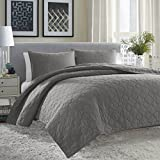 City Scene Moroccan Medallion Quilt Set, Full/Queen, Gunmetal Gray