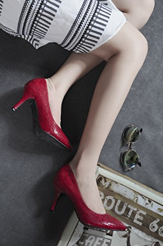 New Heel Womens Bussiness CN1023 Fish Scale Pumps Slip on Court Toe YWE Abby Pointed Chic Red Customize Closed Classic w14zqnZxH