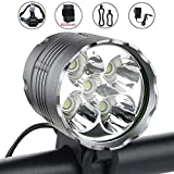 WasaFire Bike Light, 6000 Lumens 5 LED Bicycle Light,Waterproof Mountain Bicycle Front Light with 6400mAh Rechargeable Battery Pack, 3 Modes Bike Front Headlamp for Cycling Safety (6400mAh)