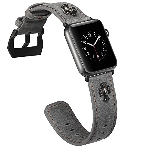 Watruer Apple Watch Band, 42mm Genuine Leather iwatch Strap Replacement Band with Stainless Metal Clasp for Apple Watch Series 3 Series 2 Series 1 Sport and Edition (Jes Cross - (Forming Cross Pattern)